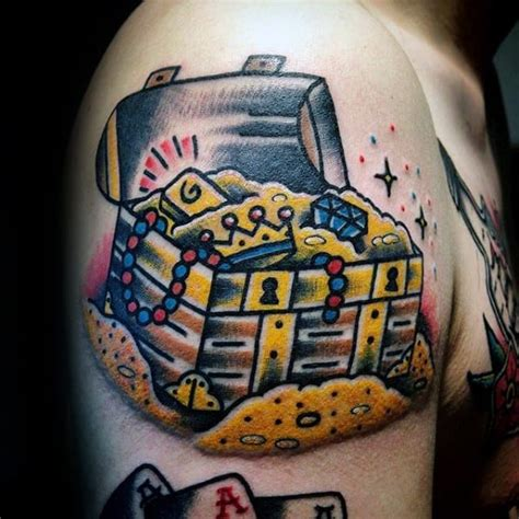 40 Treasure Chest Tattoo Designs For Men - Valuable Ink Ideas
