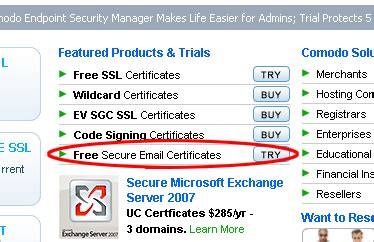 Comodo Offers Free Email Certificates to thawte Customers