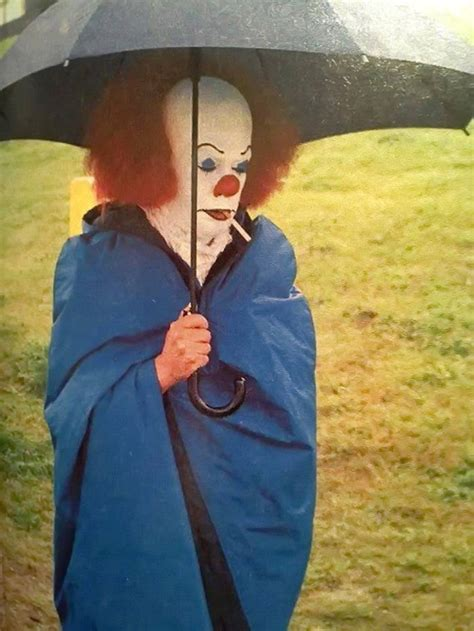 Behind the Scenes Photo of Tim Curry as Pennywise in