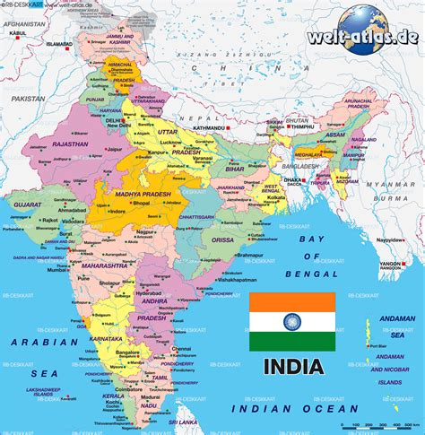 Map of India, politically (Country) | Welt-Atlas